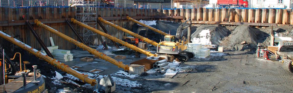 Fundamenteringen for Orkla City i full gang