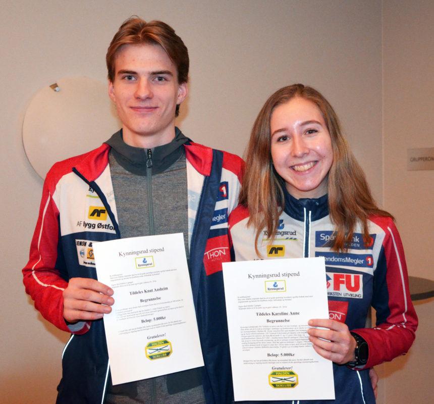 Fikk stipend av Kynningsrud! Knut Asheim og Karoline Aune er glade for utmerkelsen..