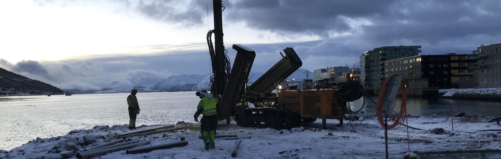 Fundamenterer for stort boligprosjekt i Tromsø