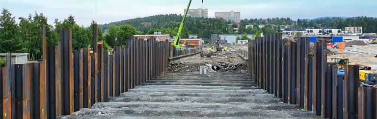 Fundamentering for ny vei på Lørenskog